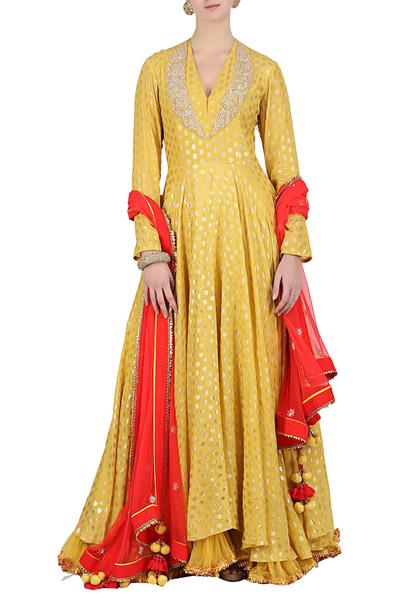 Suits, Clothing, Carma, Yellow printed anarkali set ,  ,  ,