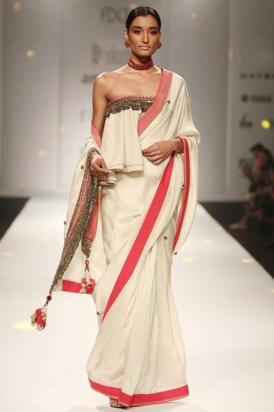 Sarees, Sarees, Clothing, Carma, Egg shell and red bead and ghunghroo embroidered saree and matching strapless blouse ,