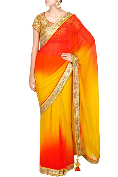 Sarees, Sarees, Clothing, Carma, Ochre to sunset ombre saree with embroidered tasseled pallu ,
