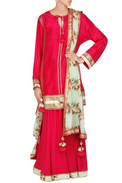Suits, Clothing, Carma, Crimson red ladder lace kurta with flared skirt and lilly of the valley dupatta ,