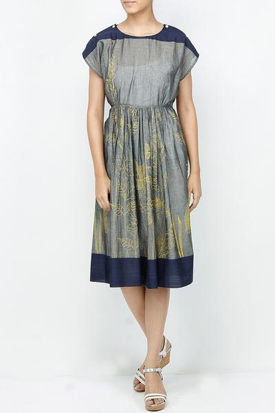 Dresses, Clothing, Carma, Steel grey printed pleated dress ,  ,
