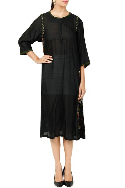 Dresses, Clothing, Carma, Black floral thread embroidered dress ,  ,  ,