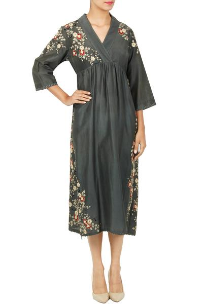 Dresses, Clothing, Carma, Grey thread embroidered dress ,  ,  ,