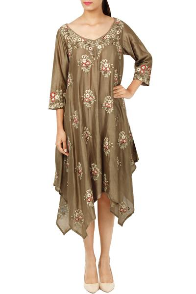 Dresses, Clothing, Carma, Sand grey floral embroidered dress ,  ,  ,
