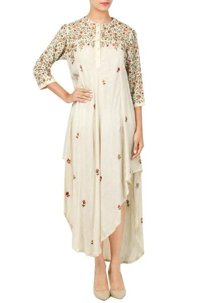 Dresses, Clothing, Carma, Ivory thread embroidered asymmetric dress ,  ,  ,