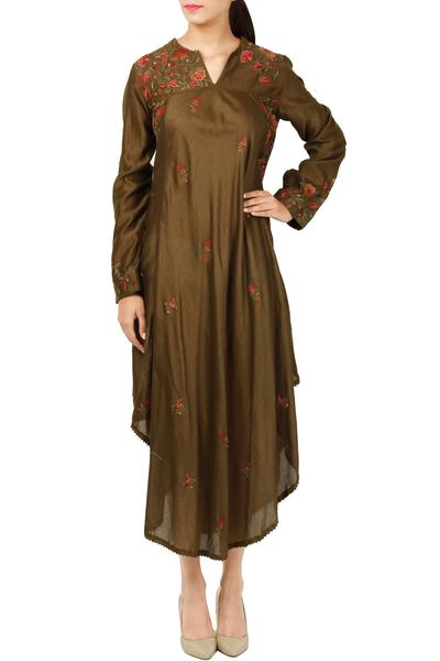 Dresses, Clothing, Carma, Olive thread embroidered asymmetric dress ,  ,  ,