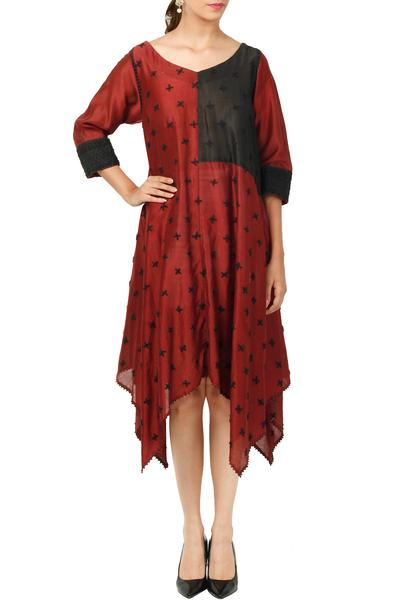 Dresses, Clothing, Carma, Maroon asymmetric embroidered dress ,  ,  ,