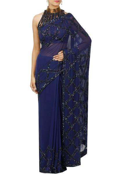 Sarees, Sarees, Clothing, Carma, Navy hand embellished saree with blouse ,  ,  ,