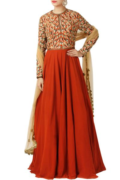 Gowns, Clothing, Carma, Rust Leaf Pattern Gown With Dupatta ,  ,  ,
