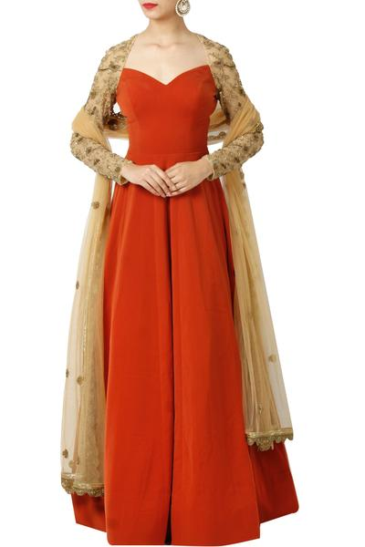 Gowns, Clothing, Carma, Rust Embroidered Anarkali Gown With Dupatta ,  ,  ,