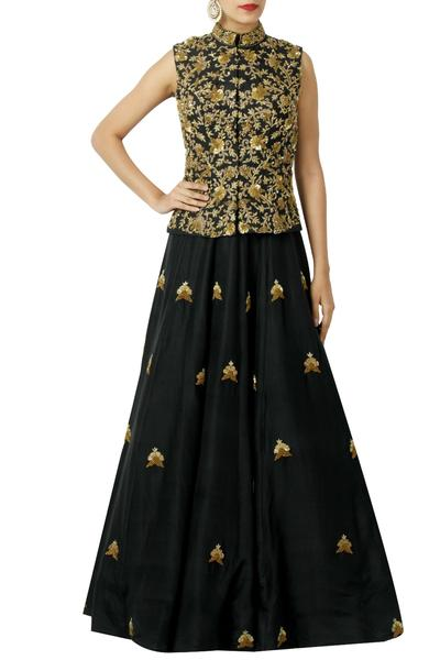 Gowns, Clothing, Carma, Black Embellished Gown With Waist Coat ,  ,  ,