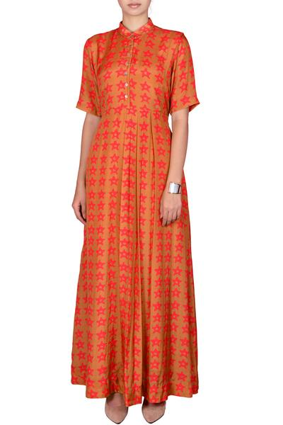 Dresses, Clothing, Carma, Dirty Mustard Printed Maxi Dress