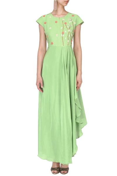 Gowns, Clothing, Carma, Mint embroidered pleated gown ,  ,  ,