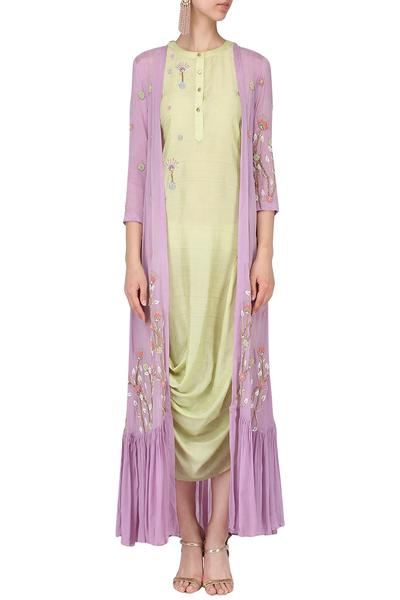Dresses, Clothing, Carma, Olive draped dress with lilac cape ,  ,  ,