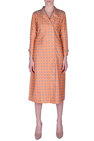 Dresses, Clothing, Carma, Orange and grey check pattern jacket ,  ,  ,