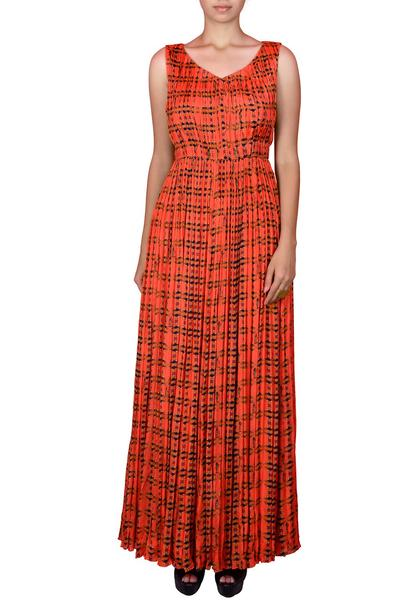 Gowns, Clothing, Carma, Orange printed gown ,  ,  ,