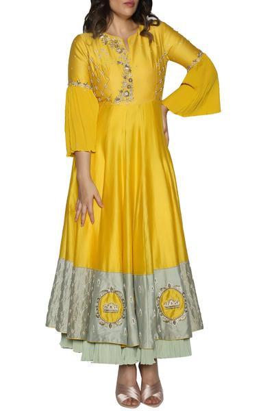 Gowns, Clothing, Carma, Yellow layered embroidered gown ,  ,  ,