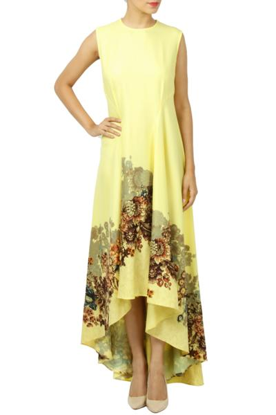 Dresses, Clothing, Carma, Pastel Yellow Floral Print Asymmetric Dress ,  ,  ,