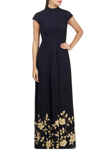 Gowns, Clothing, Carma, Navy blue embroidered gown ,  ,  ,