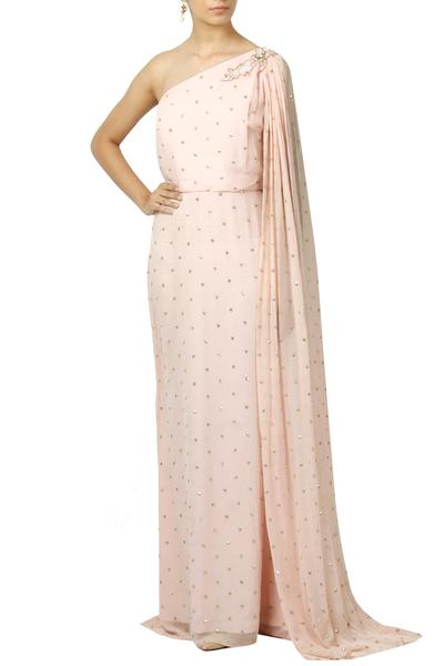 Gowns, Clothing, Carma, Pink Sequin Embellished Single Cape Sleeve Gown ,  ,  ,