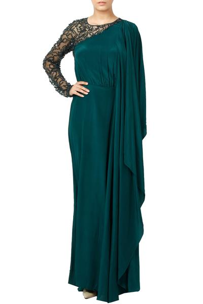 Gowns, Clothing, Carma, Forest Green Embellished Sleeve Drape Gown ,  ,  ,