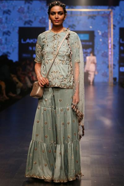 Suits, Clothing, Carma, Blue embroidered tunic and sharara set ,  ,