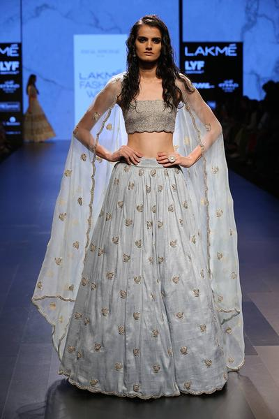 Lehengas, Clothing, Carma, Powder blue embroidered lehenga with beaded bustier set ,