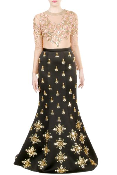 Lehengas, Clothing, Carma, Black Embellished Mermaid Lehenga With Peach Sheer Bodysuit ,  ,