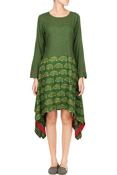 Dresses, Clothing, Carma, Military green hedgehog block printed asymmetrical dress ,