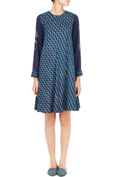 Dresses, Clothing, Carma, Navy blue chevron and bird block printed trapeze dress ,
