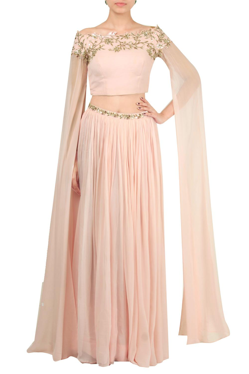 0cc896c189 Lehengas, Clothing, Carma, Pastel pink cape sleeve crop top with skirt , , ,