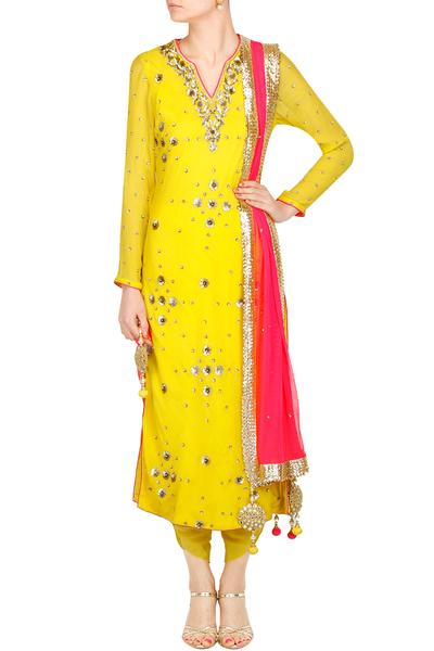 Suits, Clothing, Carma, Yellow and pink sequin embroidered kurta and dhoti pants set ,  ,