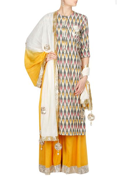 Suits, Clothing, Carma, Grey and marigold gota work ikat kurta set ,  ,