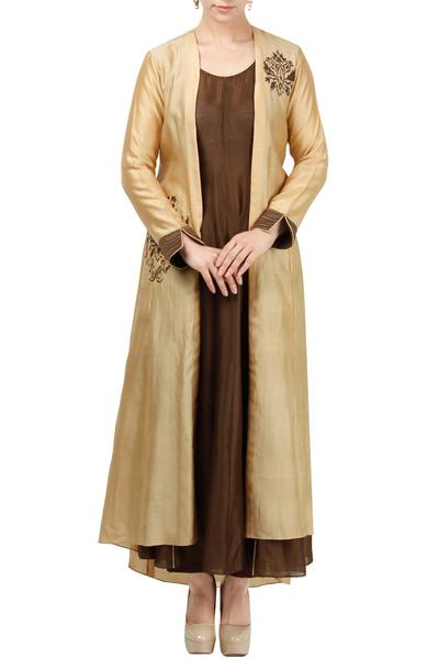 Kurtas and Sets, Clothing, Carma, Beige Jacket With Brown Tunic And Pants ,  ,