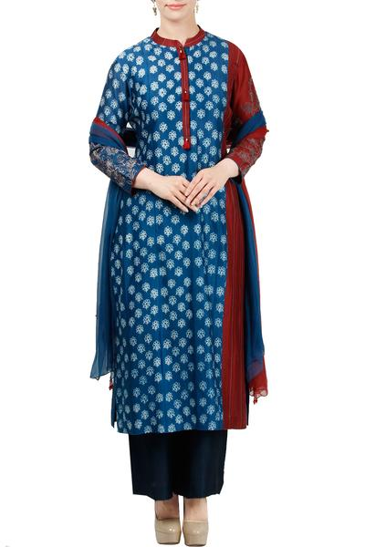 Suits, Clothing, Carma, Blue And Maroon Embroidered Kurta Set ,  ,