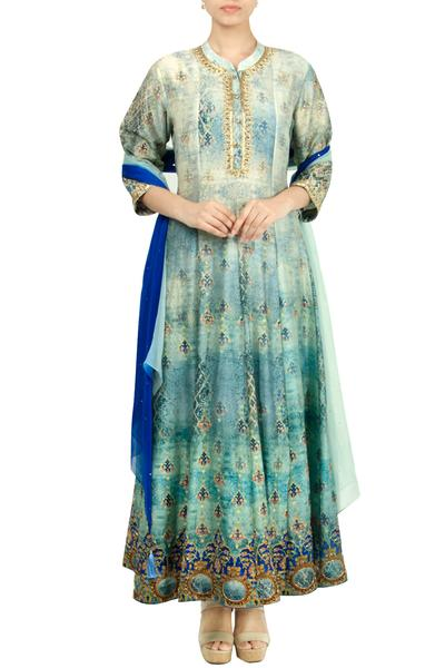 Suits, Clothing, Carma, Blue printed and embroidered anarkali set ,  ,  ,