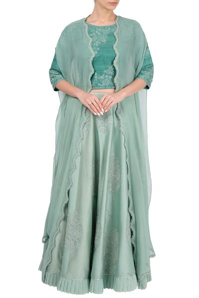 Lehengas, Clothing, Carma, Sea green embroidered skirt and cape set ,  ,  ,