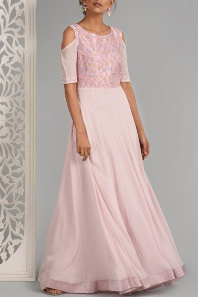 Gowns, Clothing, Carma, Blush cold shoulder hand embellished gown ,  ,  ,