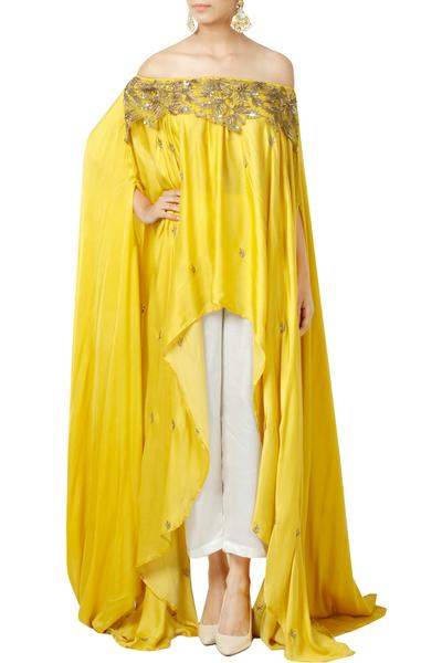 Kurtas and Sets, Clothing, Carma, Yellow off shoulder tunic with pants ,  ,  ,