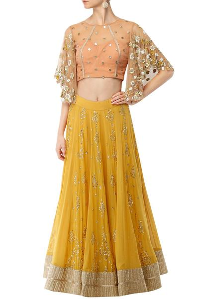 Lehengas, Clothing, Carma, Canary yellow high waist long skirt with a bell sleeved peach crop top ,
