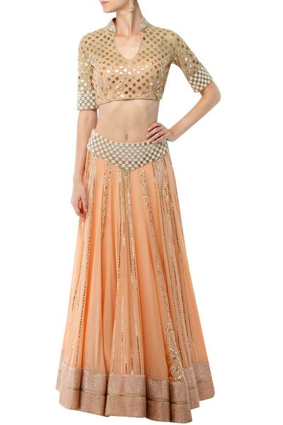 Lehengas, Clothing, Carma, Peach mukaish work short choli with flared lehenga skirt set ,