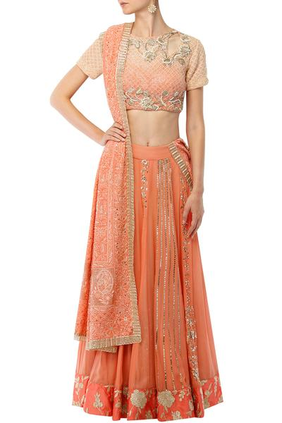 Lehengas, Clothing, Carma, Peach mukaish work lehenga with embroidered choli and chikankari dupatta set ,