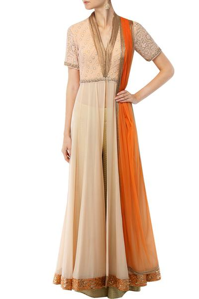 Suits, Clothing, Carma, Peach front open anarkali with palazzos and dupatta set ,