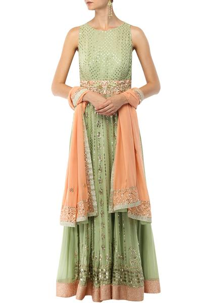 Suits, Clothing, Carma, Pista green floor length anarkali with dupatta set ,