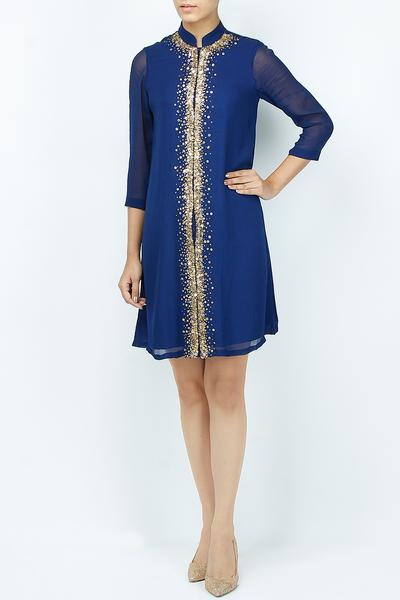 Dresses, Clothing, Carma, Navy short shirt dress with sequin work ,