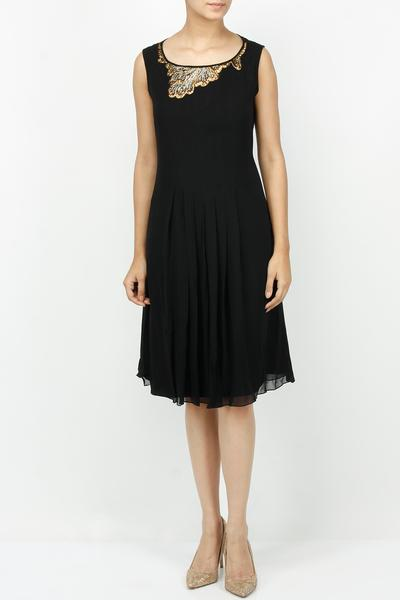 Dresses, Clothing, Carma, Black cutdana work front pleated dress ,