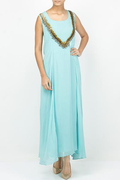 Dresses, Clothing, Carma, Aqua bead and ring work long dress ,