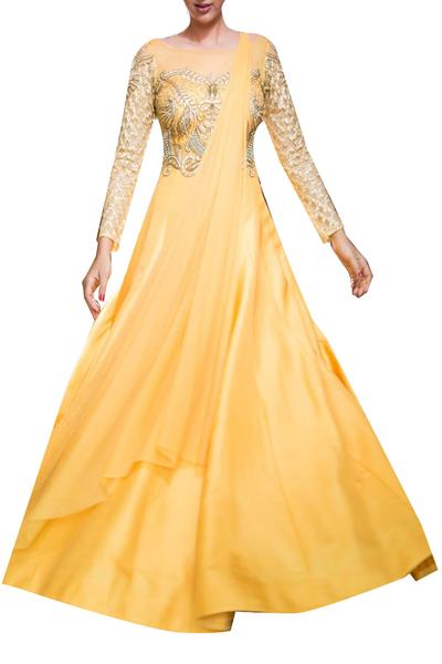 Gowns, Clothing, Carma, Apricot gown with attached dupatta ,  ,  ,