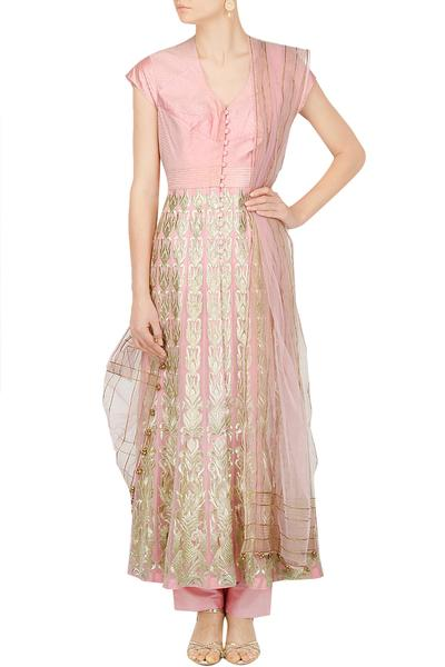 Suits, Clothing, Carma, Blush pink fit and flare anarkali ,