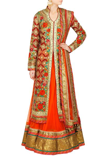 Lehengas, Clothing, Carma, Crimson red embroidered long jacket with lehenga ,